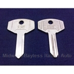 Key Blank - Ignition H-Code (Fiat 850 Coupe, 1100/1200, Other Italian) - OE NOS