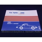 Owners Manual (Fiat 124 Spider 2000 1980) - NEW