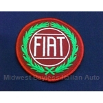 "Round ""FIAT"" Patch - Red back Silver FIAT Green Wreath"