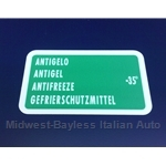 "Restoration Decal - ""ANTIGELO"" Antifreeze Decal"