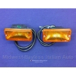 Turn Signal Assembly Front PAIR (Fiat 124 Spider, X1/9, 131, 128, Lancia 1975-On) - OE NOS