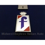 "Badge Emblem ""f"" Side (Fiat 124 Spider, Lancia Scorpion 1975-On) - NEW METAL"