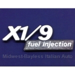 "Badge Emblem ""X1/9 Fuel Injection"" (Fiat X1/9 1980-82 North America) -U8"
