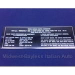 Emissions Tag Plate for Engine Bay (Fiat 124 Spider 1974) - OE NOS