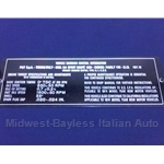 Emissions Tag Plate for Engine Bay (Fiat 124 Coupe 1974) - OE NOS