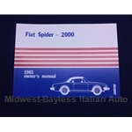 Owners Manual (Fiat 124 Spider 2000 1981) - NEW