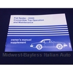 Owners Manual Supplement (Fiat Spider 2000) - NEW