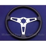 "Steering Wheel - 15"" Black Rubber (Fiat 124 Spider 1979-85) - U8"
