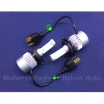 Headlight Bulb PAIR  2x -  H4 L.E.D. LED - Fiat Lancia All w/H4 Bulb - NEW