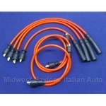 Spark Plug Wire Set - PREMIUM Red (Fiat 124 DOHC  1971-On, 131, Lancia Beta/Scorpion w/Vertical Cam-Mount Dist.) - NEW