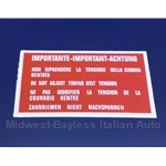 "Restoration Decal - ""IMPORTANTE!""  Cam Cover (Fiat Lancia All DOHC)"