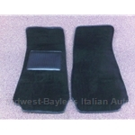 Floor Mat Pair Black Plush (Fiat Pininfarina 124 Spider All) - NEW