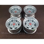"Alloy Wheels SET 4x Cromodora CD-66 - 2x 13x7 / 2x 13x8"" (Fiat 124, X19, 850, 128, 131) - NEW"