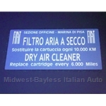 "Restoration Decal - ""FILTRO ARIA A SECCO"" Air Cleaner (Fiat All to 1978)"