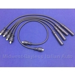 Spark Plug Wire Set - PREMIUM Black (Fiat 124 DOHC 1967-70, 124 OHV All, + Lancia Beta 1979 w/Block Mounted Dist..) - NEW