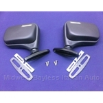 "Side View Mirror ""Flag Style"" PAIR 2x Left + Right Vitaloni ""Baby Tornado"" (Fiat 124 Spider, X19, 131, 128) - NEW"
