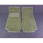 Floor Mat Pair Dark Tan Plush (Fiat Pininfarina 124 Spider All) - NEW