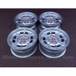 "Alloy Wheels SET 4x Cromodora CD-68 15x7"" - For Flared Fenders (Fiat 124, X1/9, 850, 128, 131) - NEW"