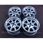 "Alloy Wheels SET 4x MINILITE Style 15x7"" - For Flared Fenders (Fiat 124, X1/9, 850, 128, 131) - NEW"