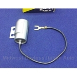 Distributor Ignition Condenser - Long Wire (Fiat 124, 131, Lancia w/S144 Dual Point Dist.) - OE NOS