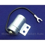 Distributor Ignition Condenser - Short Wire (Fiat 124, 131, Lancia w/S144 Dual Point Dist.) - NEW