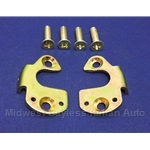 Door Latch Strike Pair - Metal Body and Screws (Fiat Bertone X1/9 All) - RENEWED