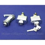 Exterior Door Locks SET w/Matching Keys + Glove Box Lock (Fiat 850 Spider 1967-73 + Muira) - OE