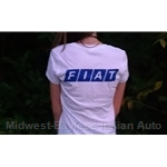 FIAT Back Logo Ladies V Neck T-Shirt White