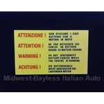 "Restoration Decal - ""ATTENZIONE !"" Battery (Fiat 124,  X19 128, 131, Lancia Beta)"