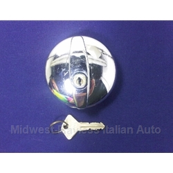 Fuel Filler Cap Locking w/Key Chrome - Threaded (Fiat All to 1978) - NEW